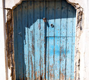 Blue door in antique village santorini greece europe and    whit Stock Photos
