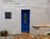 The blue door. In Cadaques, Spain stock photos