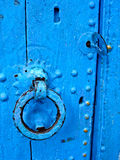Blue door, close up royalty free stock photos