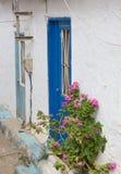 Blue door in crete, greece Royalty Free Stock Photography