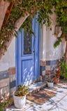 Blue door crete Stock Image