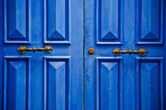 Blue door. Detail of a blue door in Assilah, Morocco Royalty Free Stock Photography
