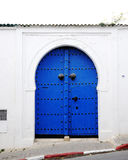 Blue door on the Greek island Royalty Free Stock Photos