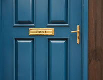 Blue door knob. Blue modern classic door with knob or handle and post Royalty Free Stock Photo