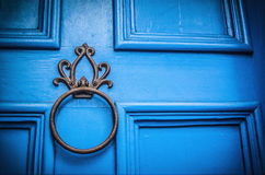 A Blue Door. A knocker on a blue door Stock Photography