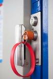Blue door with lock Stock Image