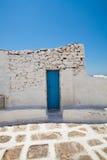 Blue door in Mykonos, Greece Stock Photo