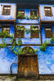Blue door of the old traditional turkish house Stock Photo