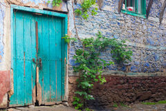 Blue door of the old traditional turkish house Stock Photography