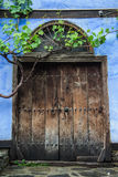 Blue door of the old traditional turkish house Royalty Free Stock Image