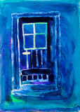 Blue door painting by Kay Gale Royalty Free Stock Images