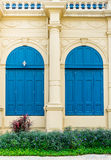 Blue door with roman style at Grand Palace Thailand Stock Photography