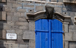 Blue door on stone church Royalty Free Stock Photography