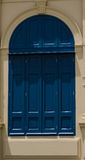 Blue door. In sunlight summer stock image