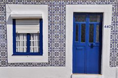 Blue door and window Royalty Free Stock Photography