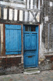 Blue door and window. Of old building Royalty Free Stock Image