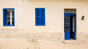 Blue door and window. Maltese street scene Royalty Free Stock Images