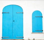 Blue door and window Stock Photo