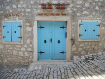 BLUE DOOR AND WINDOWS, ROVINJ, CROATIA Royalty Free Stock Photography