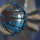 Blue doorknob close-up with nice depth of field royalty free stock images