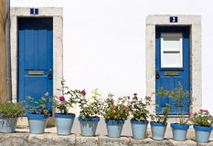 Blue doors in Bairro Alto district in Lisbon, Portugal. Royalty Free Stock Photos