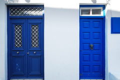Blue Doors of Greece Stock Photo