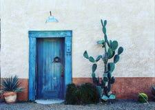 Blue doorway. Cactus Southwest Doorway stock photos