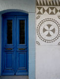 Blue doorway in greek village Stock Image