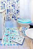 Blue dots bathroom Stock Photos