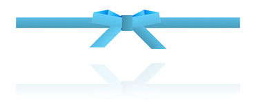 Blue dotted bow and blue dotted ribbon. On white background Royalty Free Stock Images