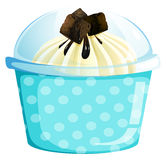 A blue dotted cupcake container Stock Photo