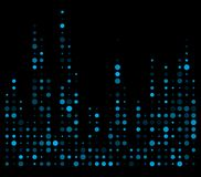 Blue dotted equalizer, sound wave symbol isolated on black backg. Round Royalty Free Stock Photo