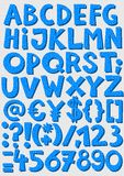Blue dotted letters and numbers baby boy alphabet set Stock Photography