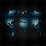 Blue dotted world map on black background Stock Images