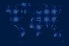 Blue dotted world map Stock Photography