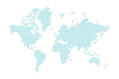 Blue dotted world map Stock Images