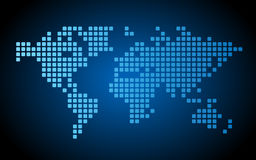 Dotted world map. Blue dotted world map made of rounded rectangles. Vector illustration Stock Illustration