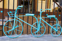 Blue double bike near cafe Royalty Free Stock Photography