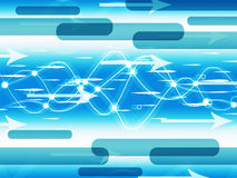 Blue Double Helix Background Means Information Highway Stock Photo