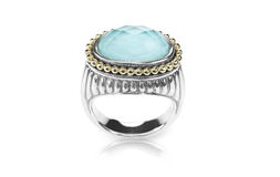 Blue doublet cushion cut topaz stone gemstone fashion ring Stock Photo