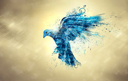 Blue dove. An abstract illustration of a blue dove in the sky royalty free illustration