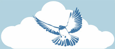 Blue dove. Simple blue dove on a background of clouds Royalty Free Stock Image
