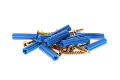 Blue dowels and golden screws Royalty Free Stock Photo