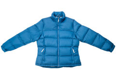 Blue down jacket. Down jacket isolated on white background Royalty Free Stock Photography