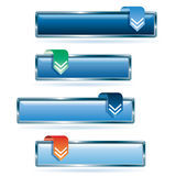 Blue download. Set of the blue download buttons Stock Images