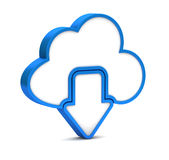 Blue Download From Cloud Icon Royalty Free Stock Images