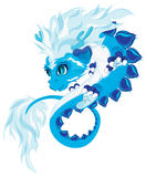 Blue dragon. Little cute blue dragon illustration Stock Images