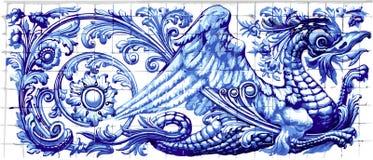 Blue Dragon Azulejo Ceramic Tile Magnet Souvenir Realistic Vector. Blue dragon azulejo indigo ceramic tile magnet souvenir. Realistic detailed vector floor royalty free illustration