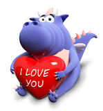 Blue dragon and big red heart. With text I love you Royalty Free Stock Photos