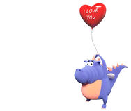 Blue dragon and big red heart-balloon. With text I love you, isolated on white Royalty Free Stock Image